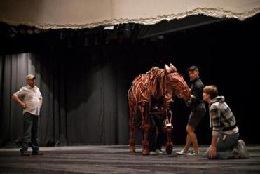 "A scene from ""War Horse"" in rehearsal at the Ahmanson Theatre in Los Angeles, prior to the start of the national tour."